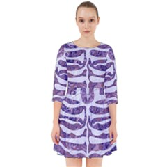 Skin2 White Marble & Purple Marble Smock Dress