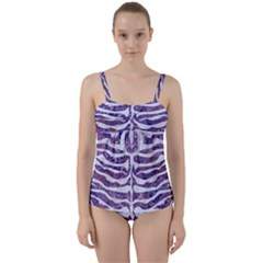 Skin2 White Marble & Purple Marble Twist Front Tankini Set