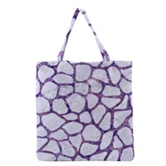 Skin1 White Marble & Purple Marble Grocery Tote Bag by trendistuff