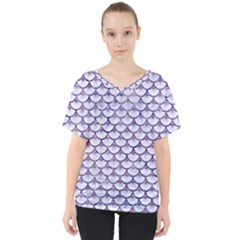 Scales3 White Marble & Purple Marble (r) V Neck Dolman Drape Top
