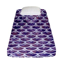 Scales3 White Marble & Purple Marble Fitted Sheet (single Size) by trendistuff