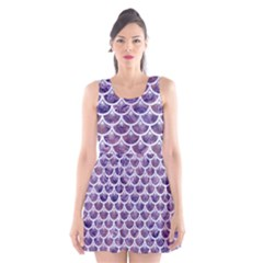Scales3 White Marble & Purple Marble Scoop Neck Skater Dress by trendistuff