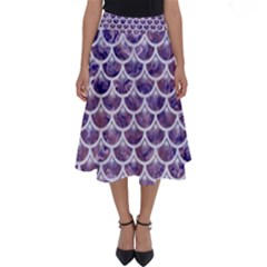 Scales3 White Marble & Purple Marble Perfect Length Midi Skirt