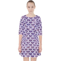Scales3 White Marble & Purple Marble Pocket Dress