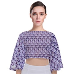 Scales2 White Marble & Purple Marble (r) Tie Back Butterfly Sleeve Chiffon Top