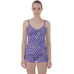 Scales2 White Marble & Purple Marble Tie Front Two Piece Tankini