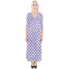 Scales1 White Marble & Purple Marble (r) Quarter Sleeve Wrap Maxi Dress