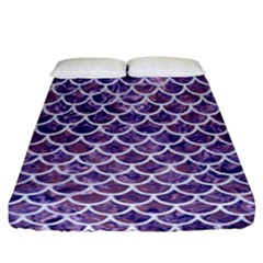 Scales1 White Marble & Purple Marble Fitted Sheet (california King Size) by trendistuff