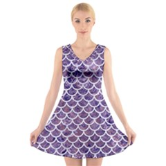 Scales1 White Marble & Purple Marble V Neck Sleeveless Skater Dress