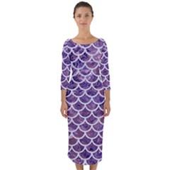 Scales1 White Marble & Purple Marble Quarter Sleeve Midi Bodycon Dress
