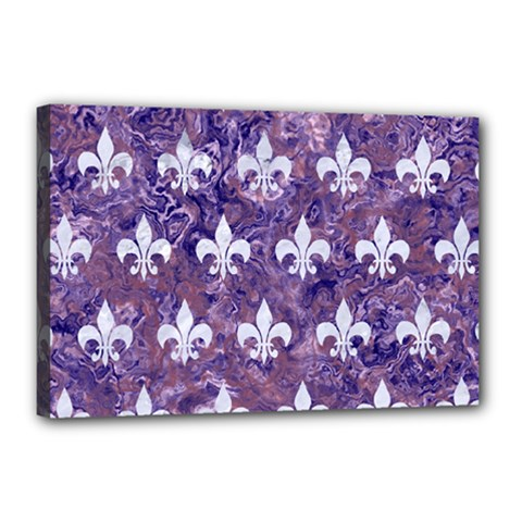 Royal1 White Marble & Purple Marble (r) Canvas 18  X 12  by trendistuff