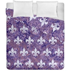 Royal1 White Marble & Purple Marble (r) Duvet Cover Double Side (california King Size) by trendistuff