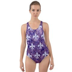 Royal1 White Marble & Purple Marble (r) Cut Out Back One Piece Swimsuit