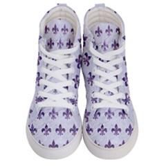 Royal1 White Marble & Purple Marble Men s Hi Top Skate Sneakers