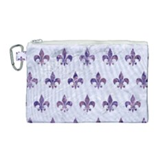 Royal1 White Marble & Purple Marble Canvas Cosmetic Bag (large)