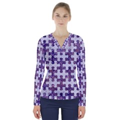 Puzzle1 White Marble & Purple Marble V Neck Long Sleeve Top