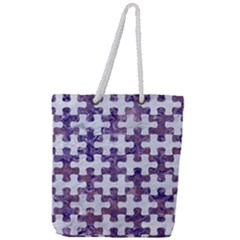 Puzzle1 White Marble & Purple Marble Full Print Rope Handle Tote (large)
