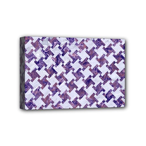 Houndstooth2 White Marble & Purple Marble Mini Canvas 6  X 4