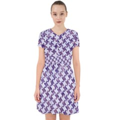 Houndstooth2 White Marble & Purple Marble Adorable In Chiffon Dress