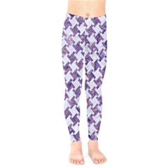 Houndstooth2 White Marble & Purple Marble Kids  Legging