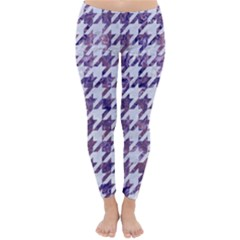 Houndstooth1 White Marble & Purple Marble Classic Winter Leggings