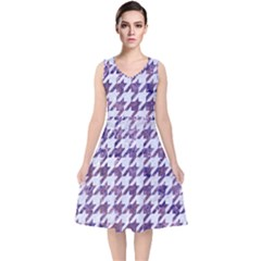 Houndstooth1 White Marble & Purple Marble V Neck Midi Sleeveless Dress