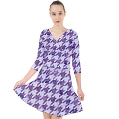 Houndstooth1 White Marble & Purple Marble Quarter Sleeve Front Wrap Dress