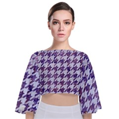 Houndstooth1 White Marble & Purple Marble Tie Back Butterfly Sleeve Chiffon Top