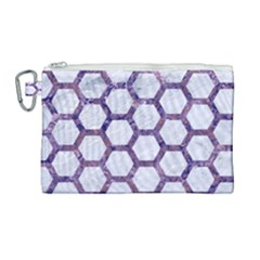 Hexagon2 White Marble & Purple Marble (r) Canvas Cosmetic Bag (large)