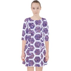 Hexagon2 White Marble & Purple Marble Pocket Dress