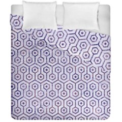 Hexagon1 White Marble & Purple Marble (r) Duvet Cover Double Side (california King Size) by trendistuff