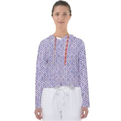 Hexagon1 White Marble & Purple Marble (r) Women s Slouchy Sweat