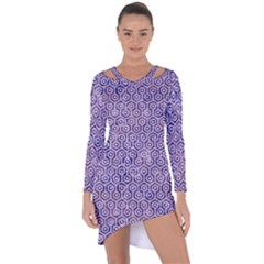 Hexagon1 White Marble & Purple Marble Asymmetric Cut Out Shift Dress