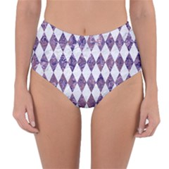 Diamond1 White Marble & Purple Marble Reversible High Waist Bikini Bottoms