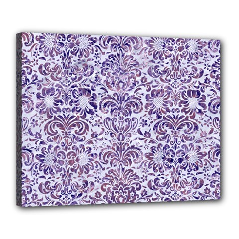 Damask2 White Marble & Purple Marble (r) Canvas 20  X 16  by trendistuff