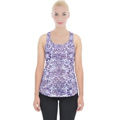 Damask2 White Marble & Purple Marble (r) Piece Up Tank Top