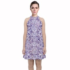 Damask2 White Marble & Purple Marble Velvet Halter Neckline Dress  by trendistuff