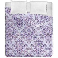 Damask1 White Marble & Purple Marble (r) Duvet Cover Double Side (california King Size) by trendistuff