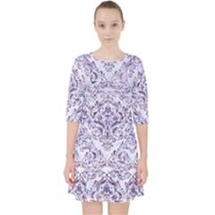 Damask1 White Marble & Purple Marble (r) Pocket Dress
