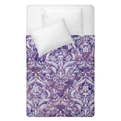 Damask1 White Marble & Purple Marble Duvet Cover Double Side (single Size) by trendistuff
