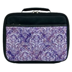 Damask1 White Marble & Purple Marble Lunch Bag