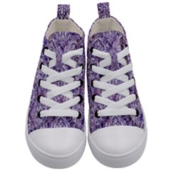 Damask1 White Marble & Purple Marble Kid s Mid Top Canvas Sneakers