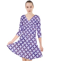 Circles3 White Marble & Purple Marble (r) Quarter Sleeve Front Wrap Dress
