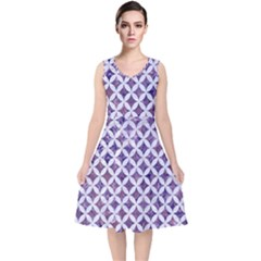 Circles3 White Marble & Purple Marble V Neck Midi Sleeveless Dress