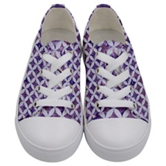 Circles3 White Marble & Purple Marble Kids  Low Top Canvas Sneakers