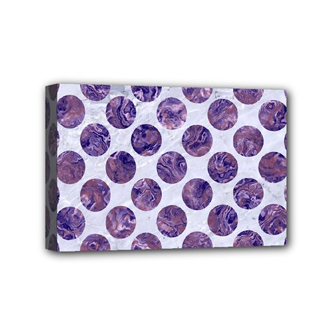 Circles2 White Marble & Purple Marble (r) Mini Canvas 6  X 4