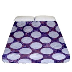 Circles2 White Marble & Purple Marble Fitted Sheet (queen Size) by trendistuff