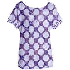 Circles2 White Marble & Purple Marble Women s Oversized Tee
