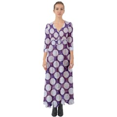Circles2 White Marble & Purple Marble Button Up Boho Maxi Dress