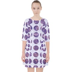 Circles1 White Marble & Purple Marble (r) Pocket Dress